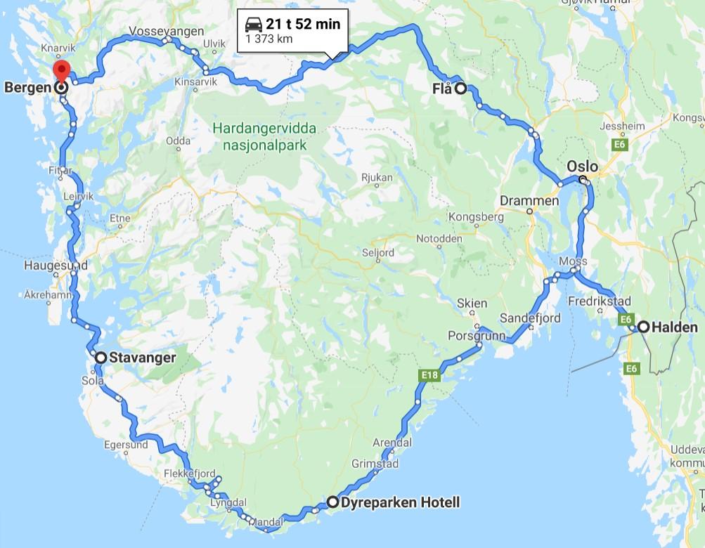 Norgesferie med barn - reiseruten vi benyttet i eksempelet